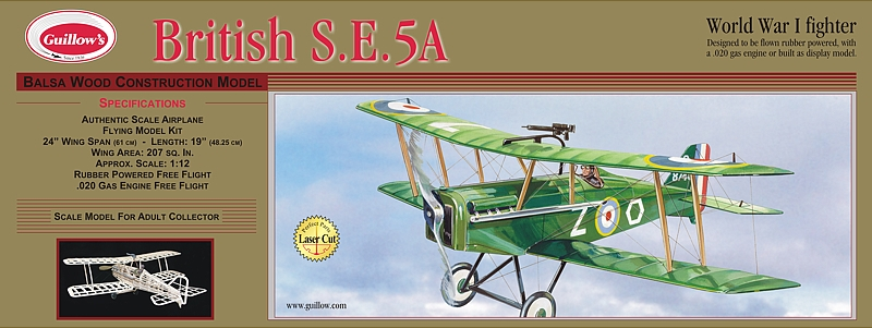 Guillow's British SE5A Wood Airplane Kit